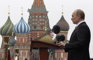 Russia's President Vladimir Putin speaks in Red Square, Moscow