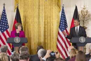 US President Barack Obama and Chancellor of Germany Angela Merkel