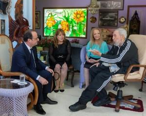 Hollande cu Fidel Castro