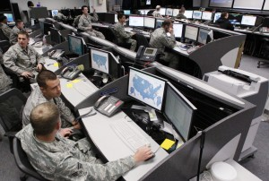 Personnel work at the Air Force Space Command Network Operations & Security Center at Peterson Air Force Base in Colorado Springs