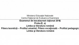BACALAUREAT 2015. Subiecte limba romana, proba proba E. a)