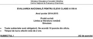 EVALUARE NAŢIONALĂ 2015. Subiecte limba română.