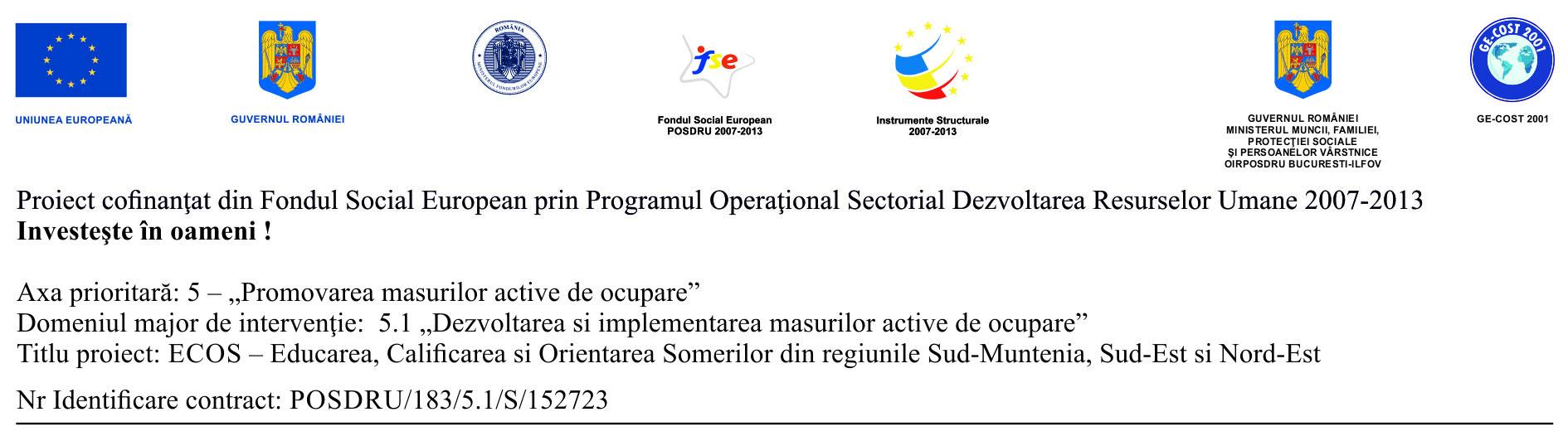 """COMUNICAT DE PRESA – Proiect """"ECOS"""" ID 152723"""