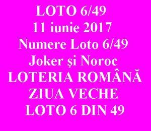 LOTO 6/49, 11 iunie 2017. Numere Loto 6/49, Joker şi Noroc sport