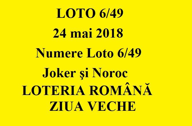 LOTO 6/49, 24 mai 2018. Numere Loto 6/49, Joker şi Noroc