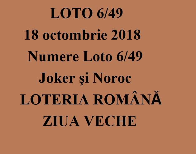 LOTO 6/49, 18 octombrie 2018. Numere Loto 6/49, Joker şi Noroc