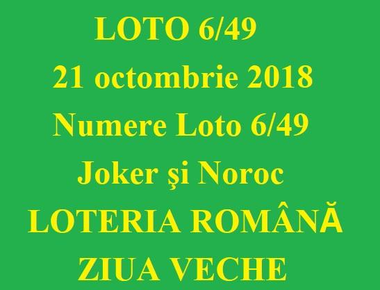 LOTO 6/49, 21 octombrie 2018. Numere Loto 6/49, Joker şi Noroc